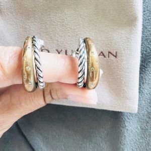 David Yurman Earrings Hoops With Diamonds